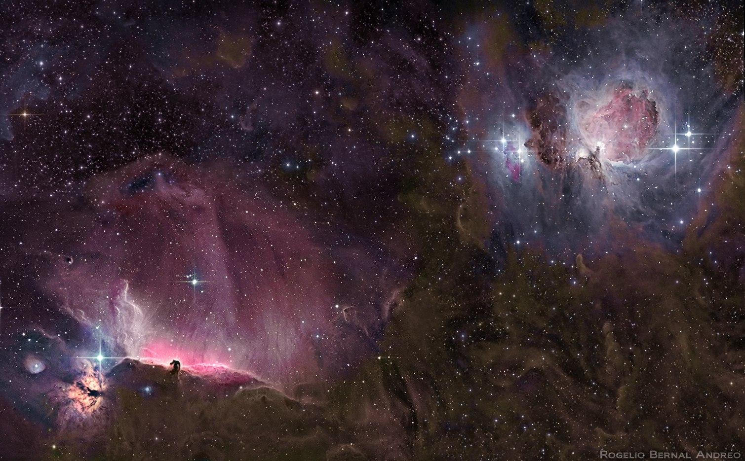 Космическая пыль и туманности в поясе Ориона