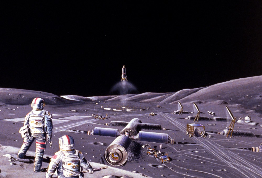 Лунная база в представлении художника