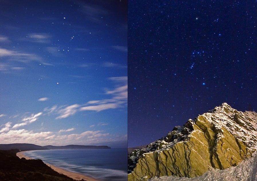 Созвездие Ориона на море и в горах