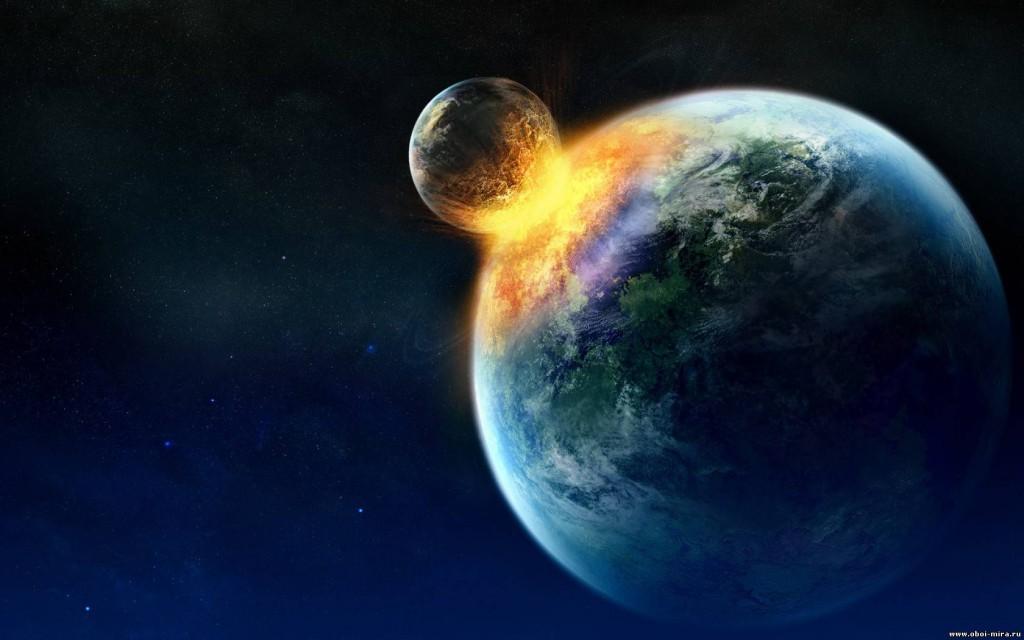 Столкновение Луны и Земли в представлении художника