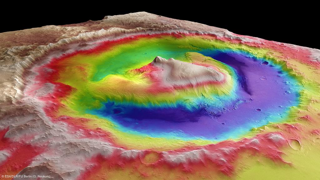 Топография кратера Гейла - место посадки марсохода Curiosity, по данным спутника Mars Express