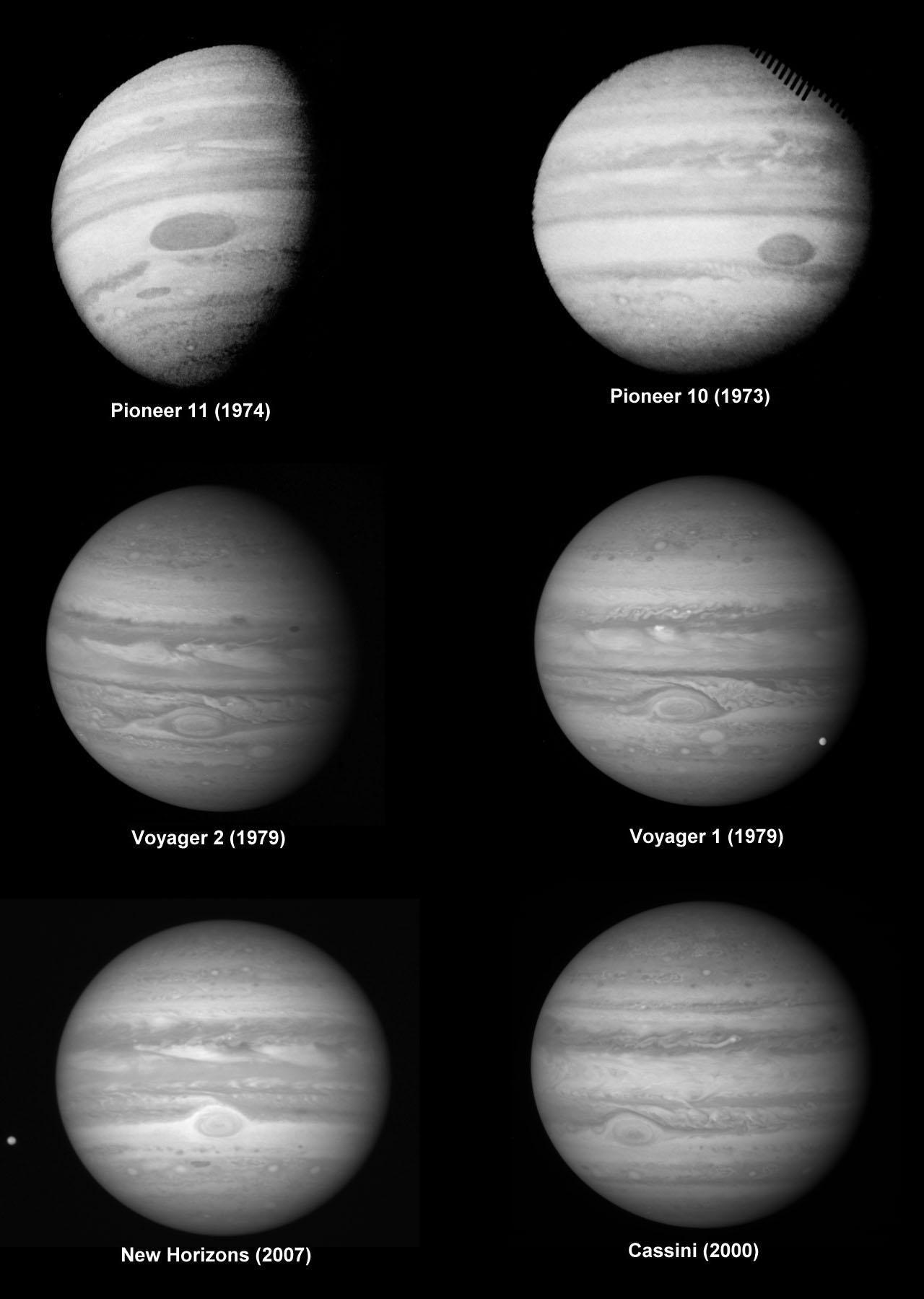 Фотографии Юпитера сделанные шестью космическими аппаратами
