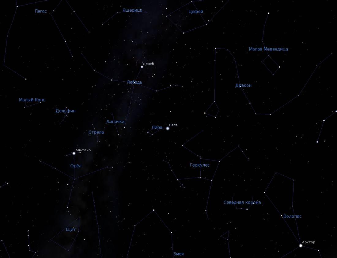 Созвездия - снимок из программы планетария