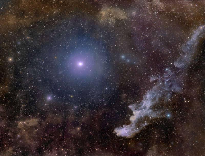 Звезда Ригель и туманность Голова Ведьмы
