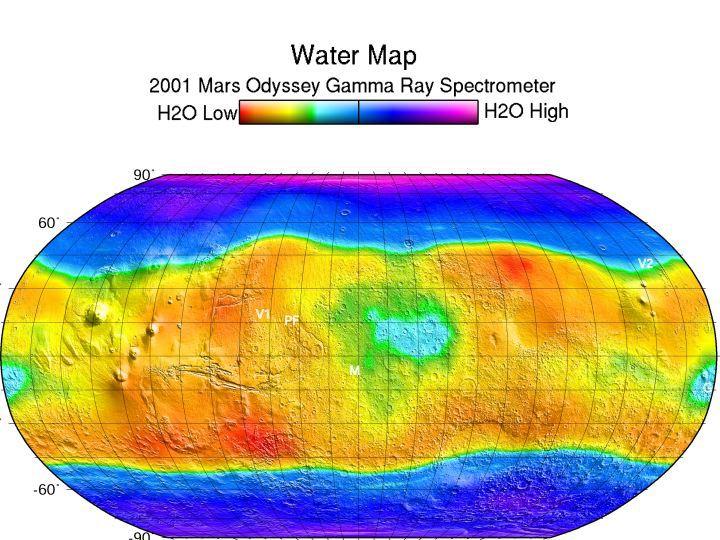 Карта воды по данным Mars Oddysey
