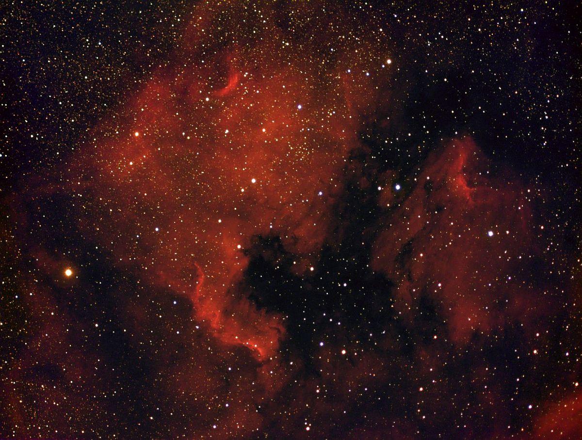NGC 7000 снята с использованием водородного фильтра
