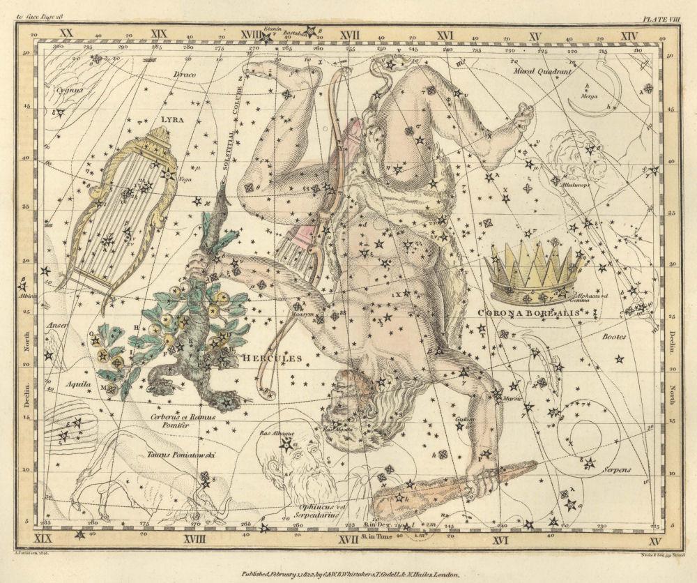 Рисунок из старинного атласа звездного неба