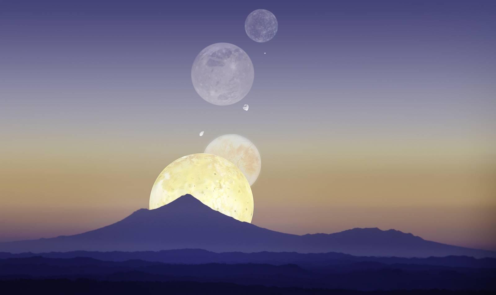 Как выглядели бы спутники Юпитера в небе Земли