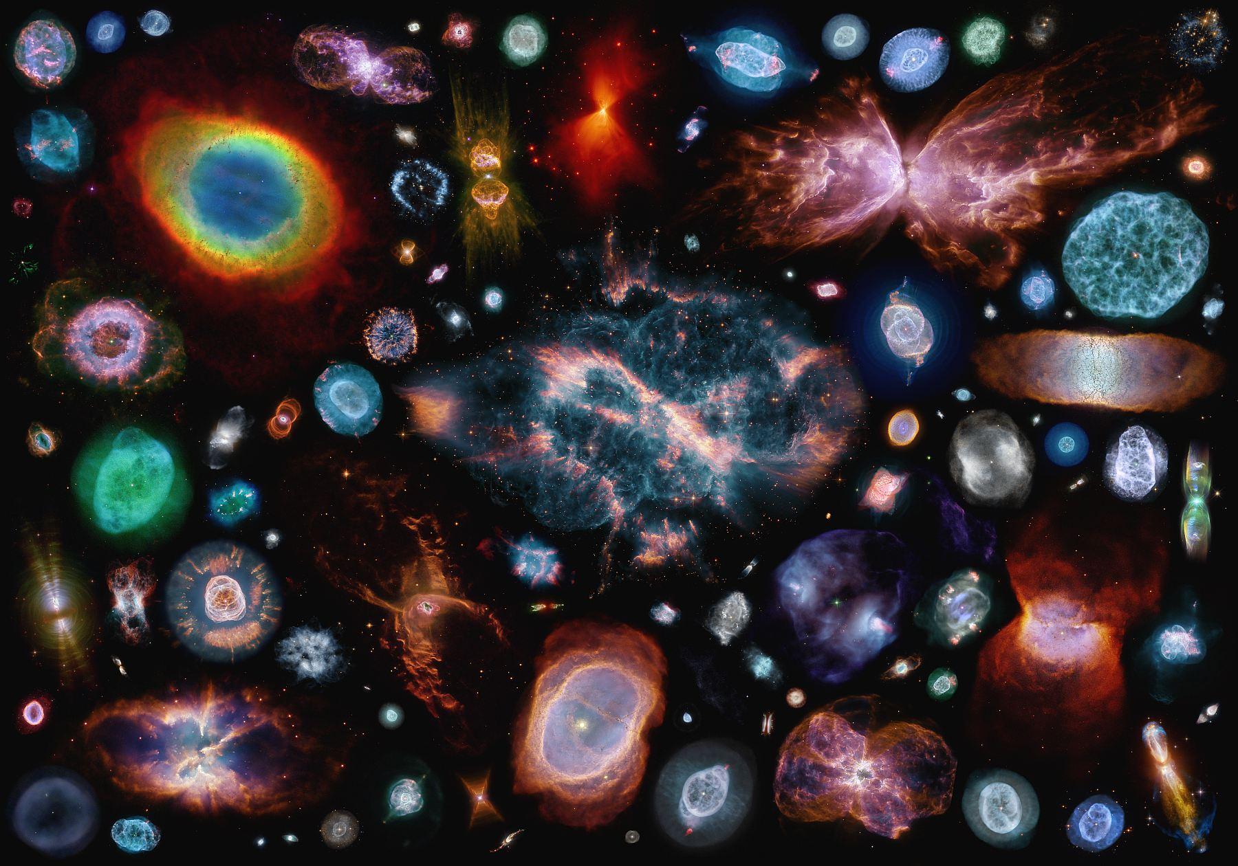 Коллаж из 100 планетарных туманностей, по заверениям автора масштаб соблюден