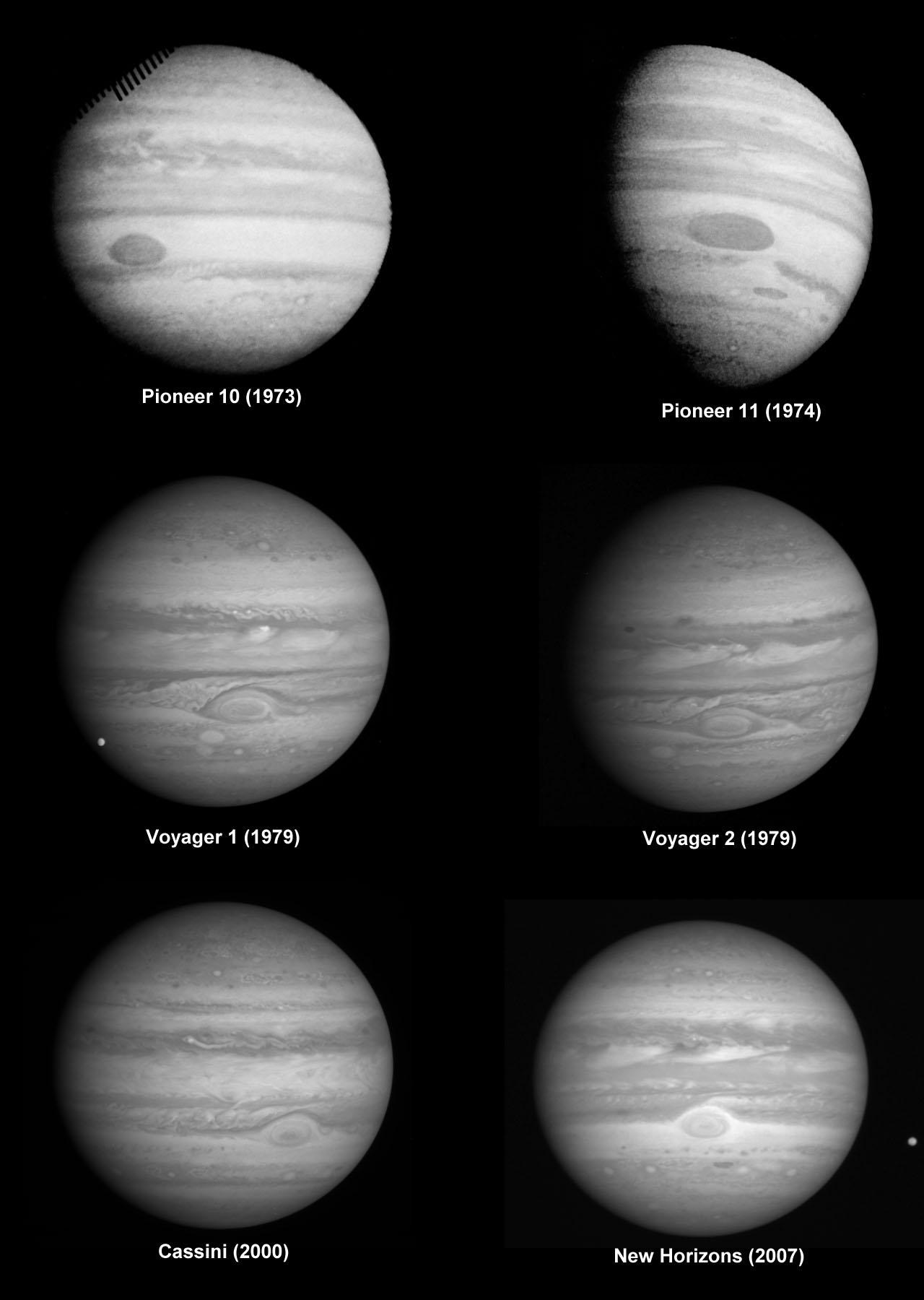 Снимки Юпитера полученные шестью космическими аппаратами