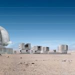 Телескоп E-ELT и VLT в сравнении с Бранденбургскими воротами