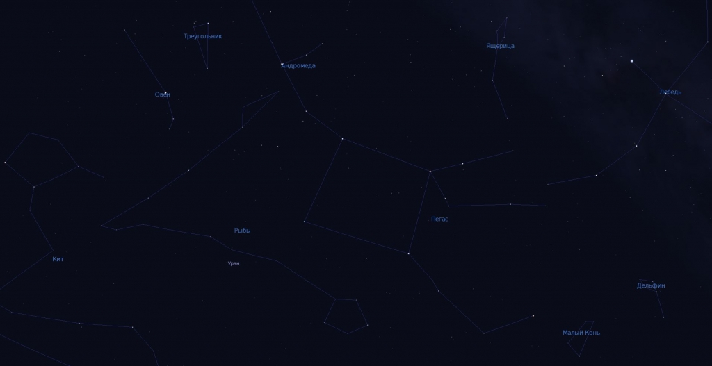 Вид созвездия в программу планетарий