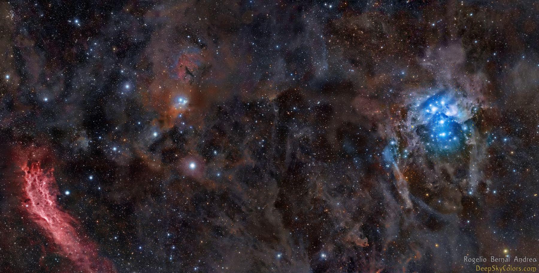 Снимок туманности Калифорния и рассеянного скопления Плеяды. Автор Rogelio Bernal