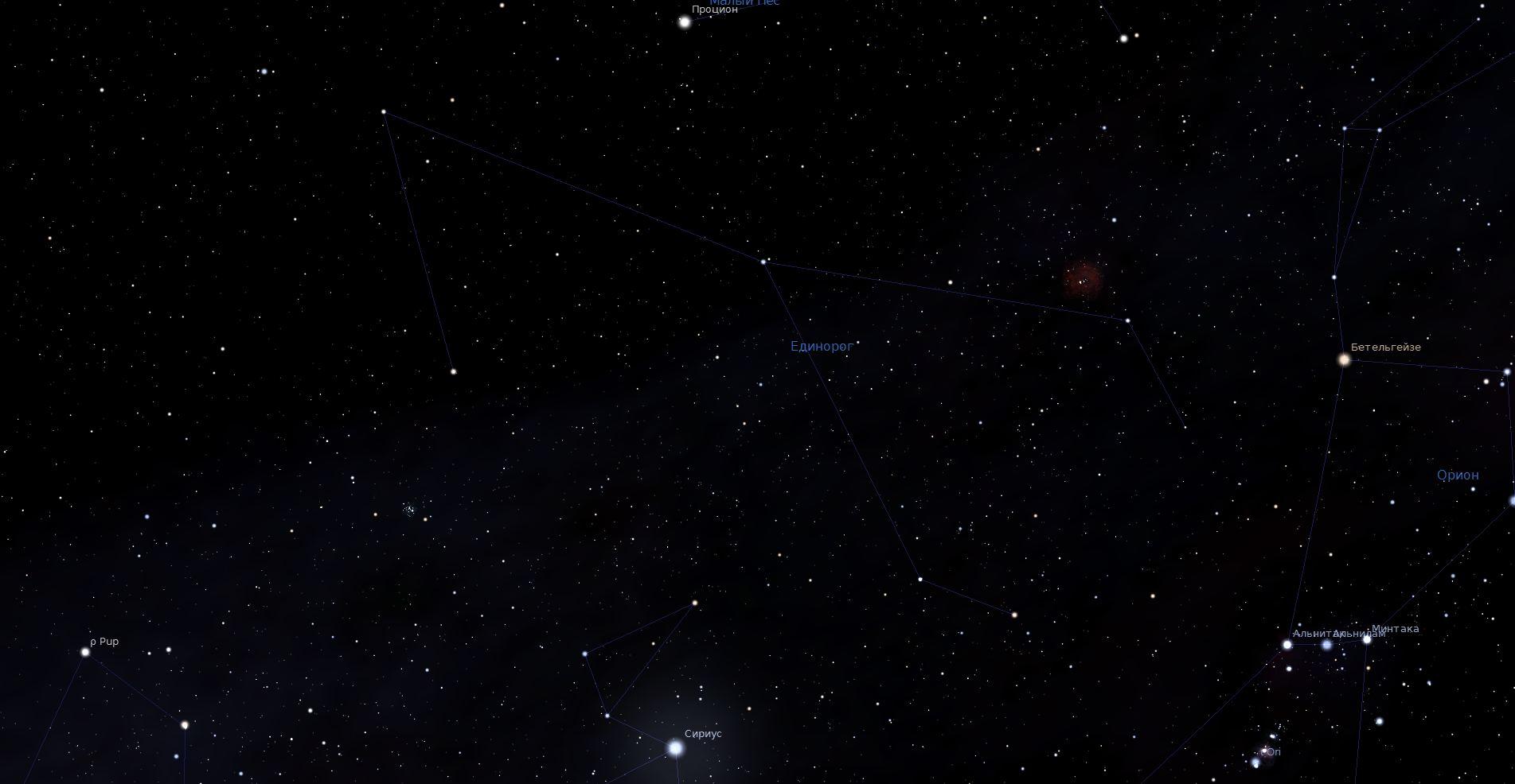 Созвездие Единорог, вид в программу планетарий