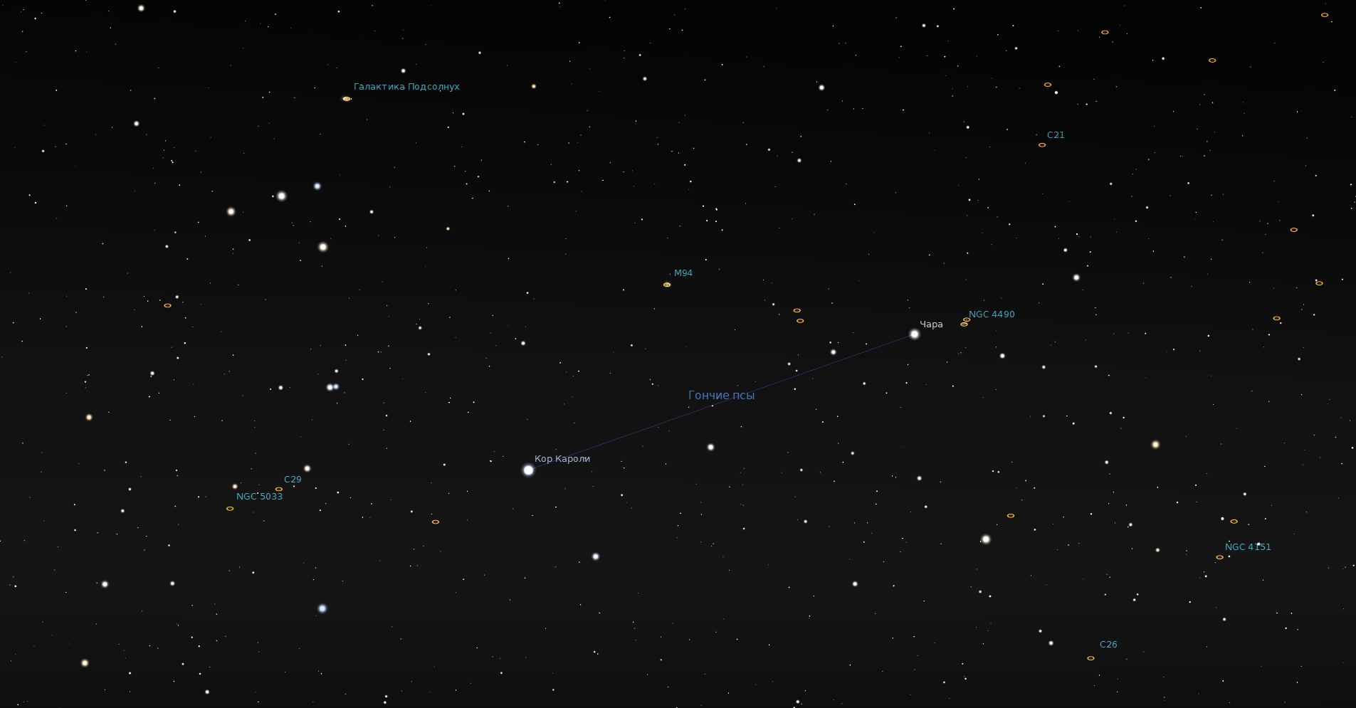 Созвездие Гончие Псы - вид в программу планетарий