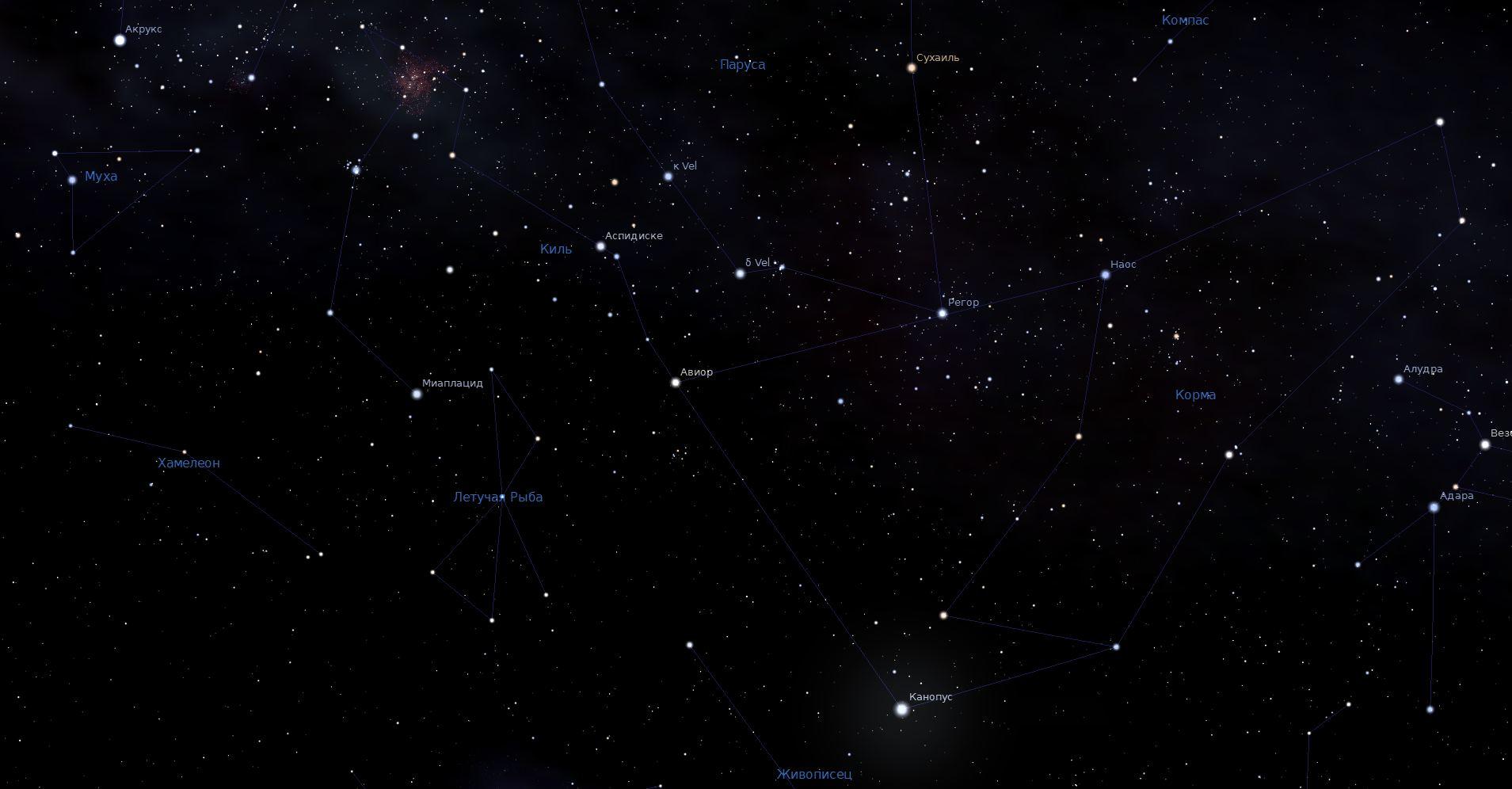 Созвездие Киль, вид в программу планетарий