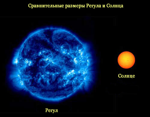 Сравнительные размеры Регула и Солнца
