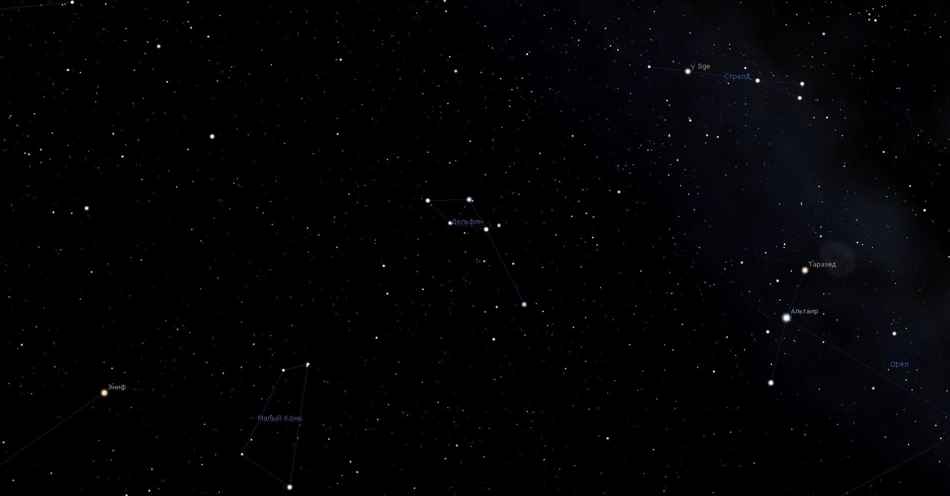 Созвездие Дельфин, вид в программу планетарий Stellarium
