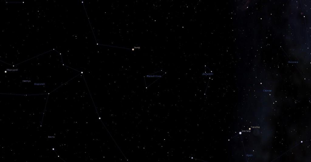 Созвездие Малый Конь, вид в программу планетарий Stellarium