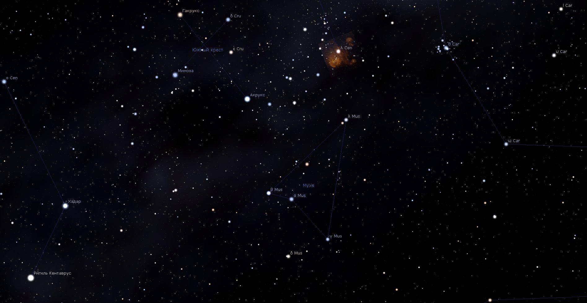 Созвездие Муха, вид в программу планетарий Stellarium