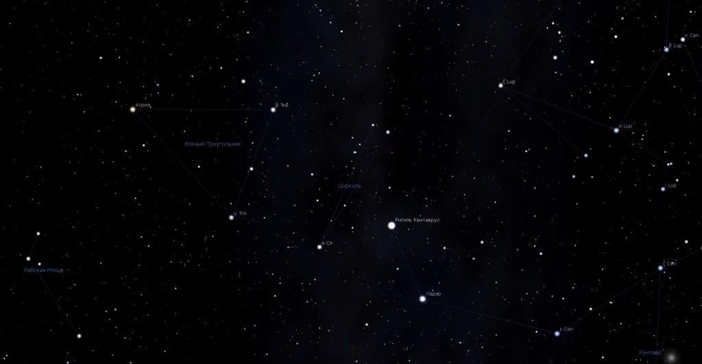 Созвездие Циркуль, вид в программу планетарий Stellarium