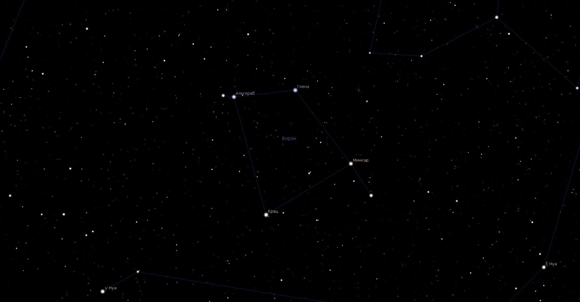 Созвездие Ворон, вид в программу планетарий Stellarium