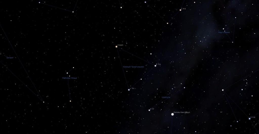 Созвездие Южный Треугольник, вид в программу планетарий Stellarium