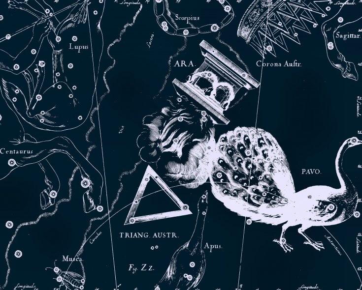 Южный Треугольник, рисунок Яна Гевелия из его атласа созвездий