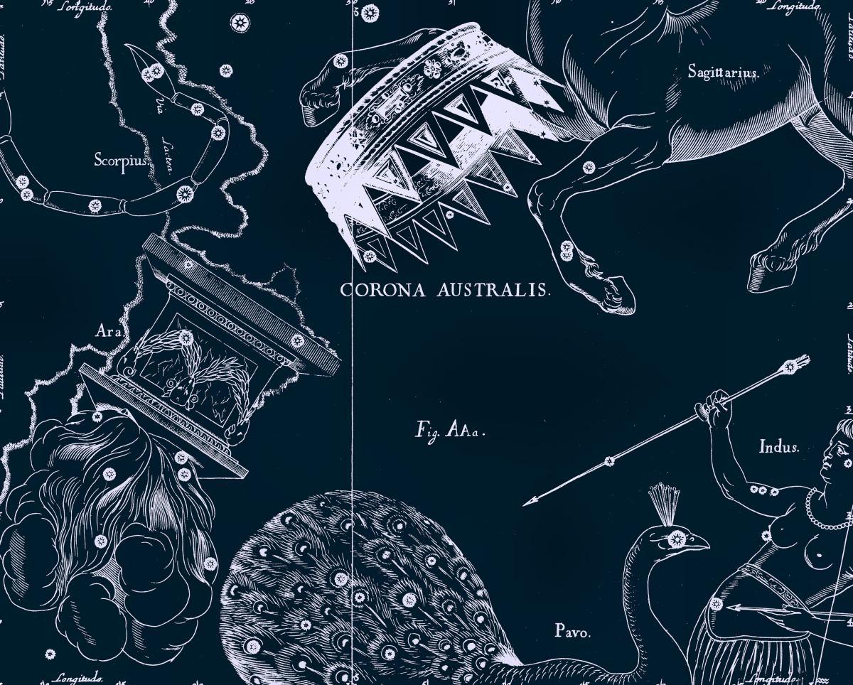 Расположение созвездия Телескоп на рисунке Яна Гевелия