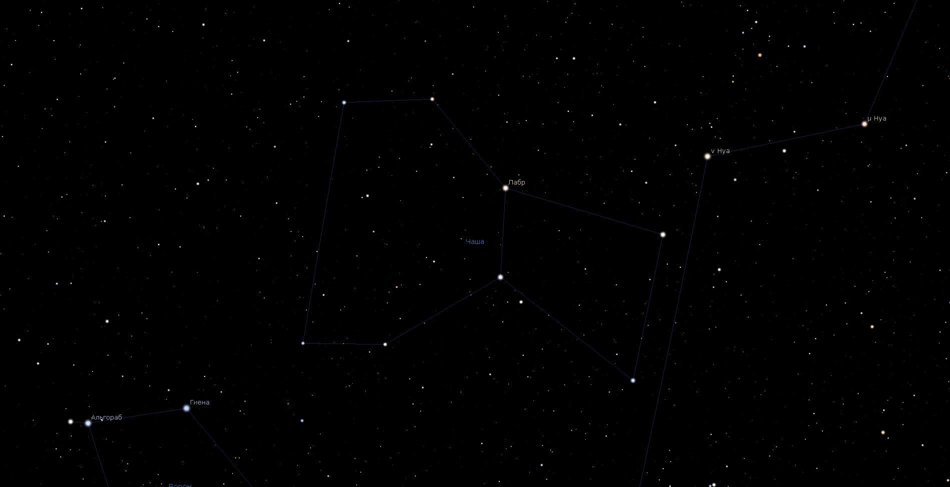 Созвездие Чаша, вид в программу планетарий Stellarium