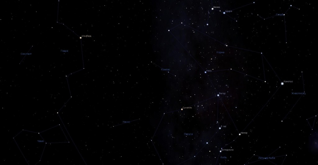 Созвездие Компас, вид в программу планетарий Stellarium
