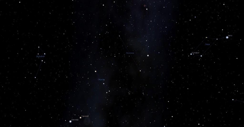 Созвездие Лисичка, вид в программу планетарий Stellarium