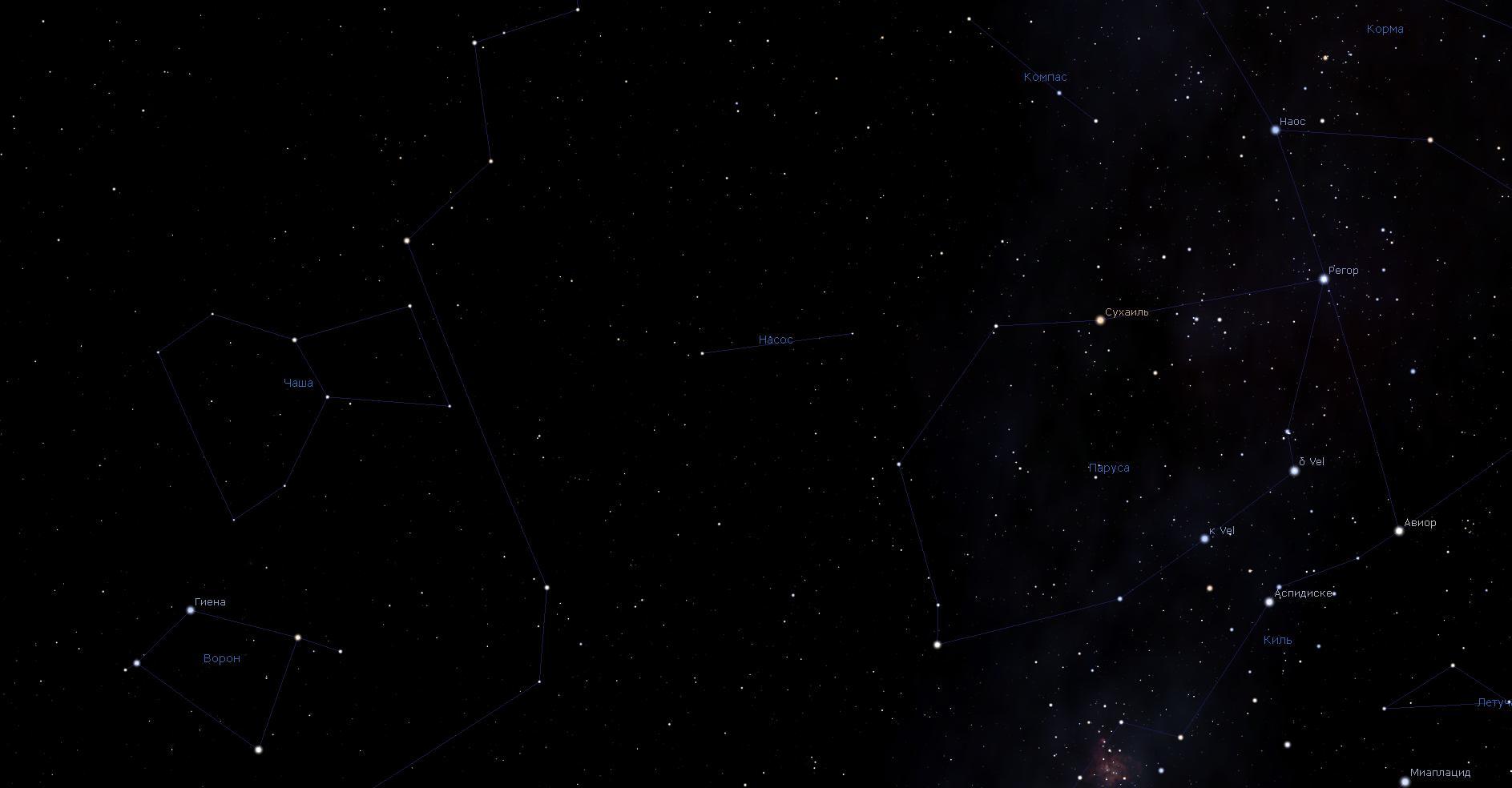 Созвездие Насос, вид в программу планетарий Stellarium