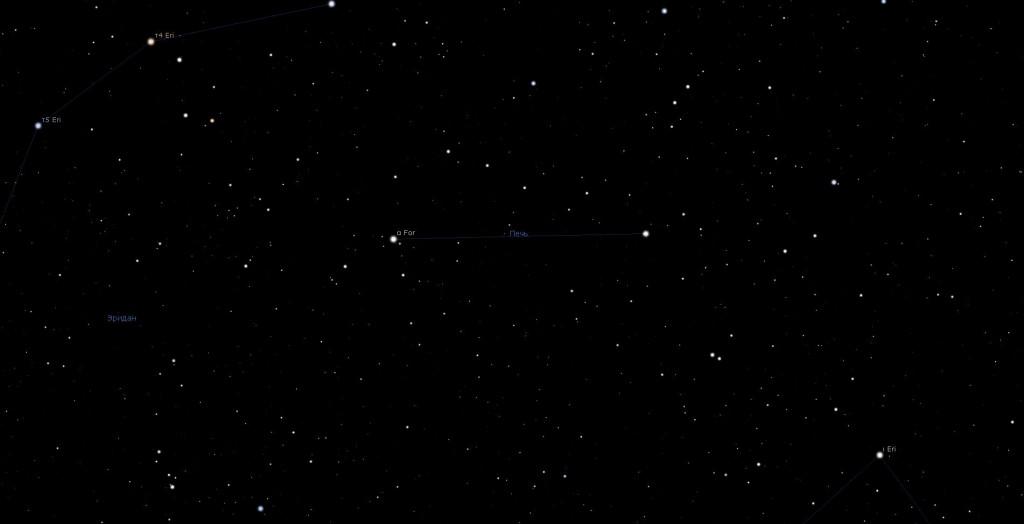 Созвездие Печь, вид в программу планетарий Stellarium