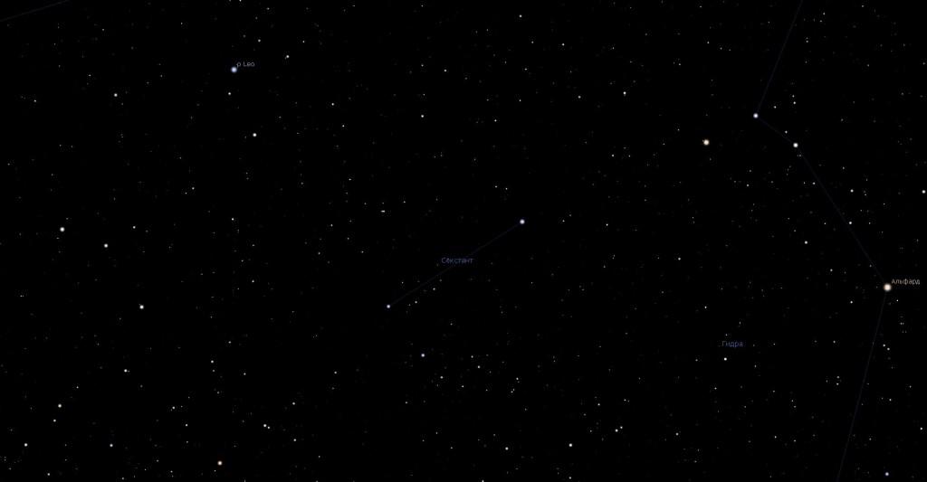 Созвездие Секстант, вид в программу планетарий Stellarium