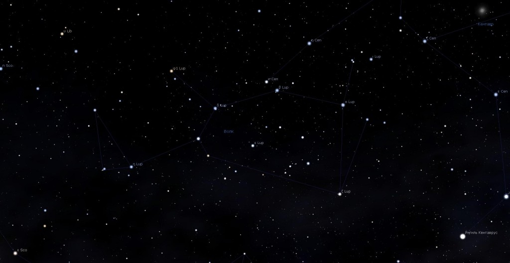 Созвездие Волк, вид в программу планетарий Stellarium