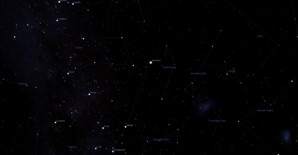 Созвездие Живописец, вид в программу планетарий Stellarium