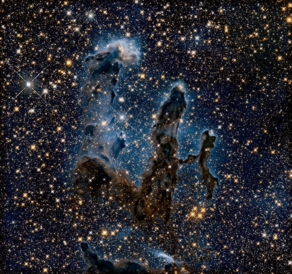 Столпы созидания в туманности Орла M16, ИК снимок.