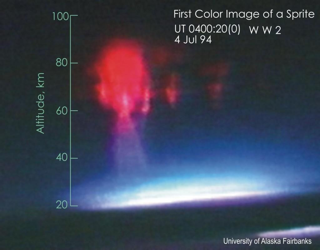 Первое цветное изображение спрайта, снятое с самолёта
