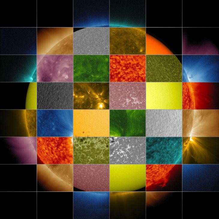 40 различных спектров Солнца