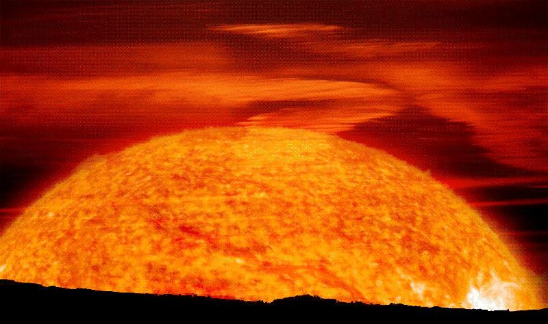 Восход раскаленного красного гиганта в представлении художника
