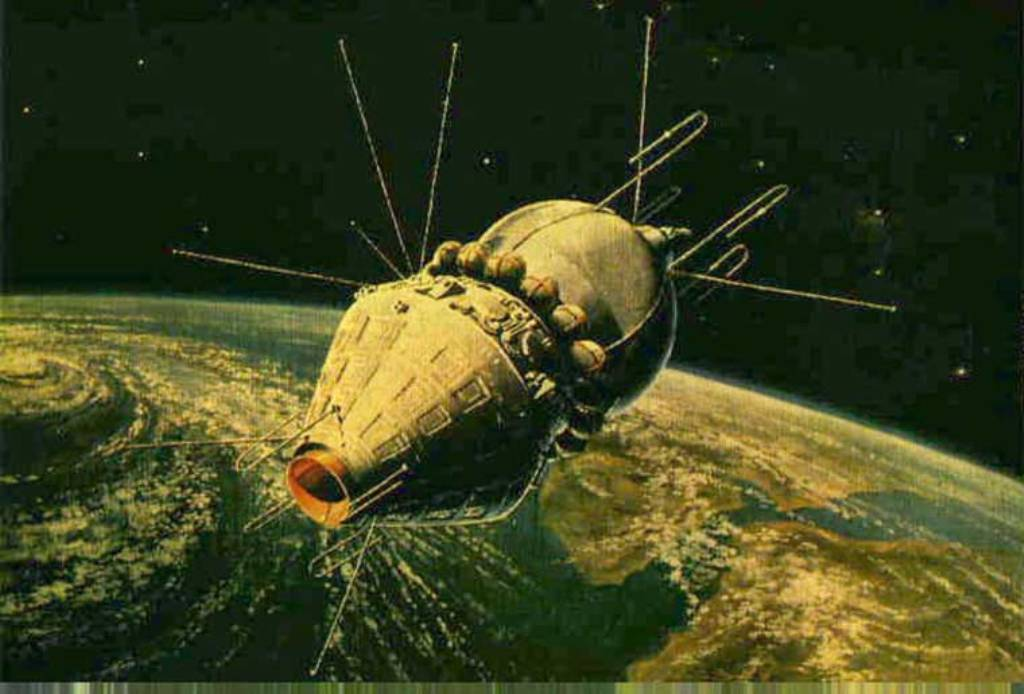 Корабль Восток-1 на орбите в представлении художника
