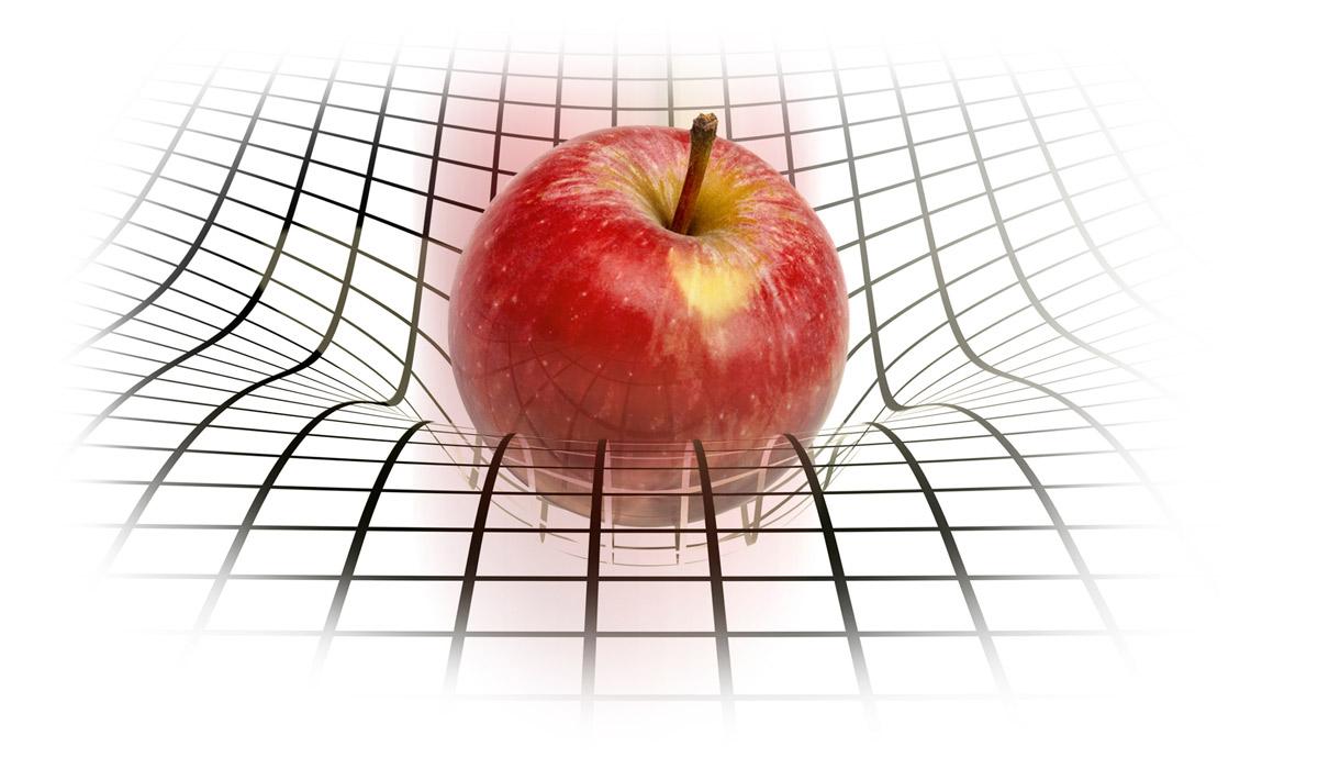 Яблоко Ньютона искажает пространство-время Эйнштейна