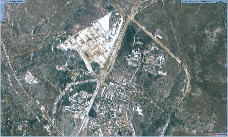 Космодром Восточный, спутниковый снимок
