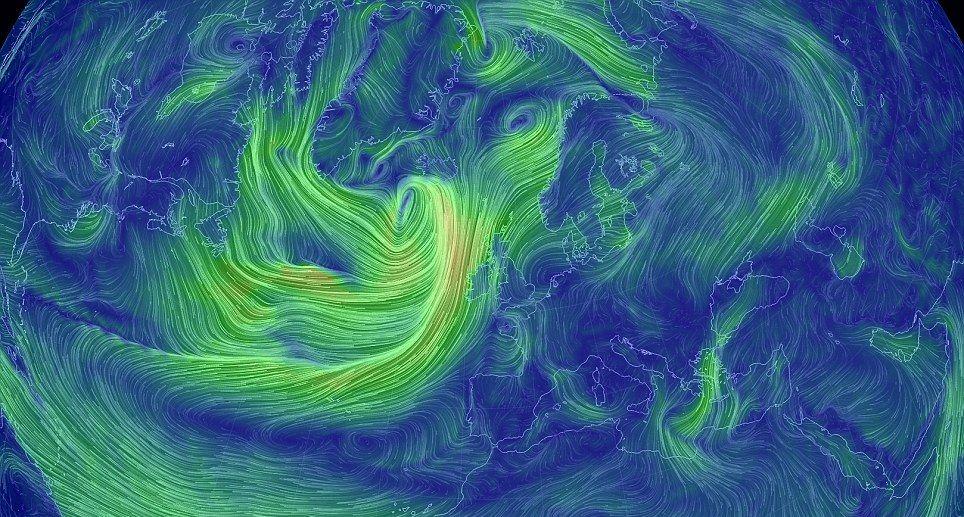 Воздушные массы на карте мира