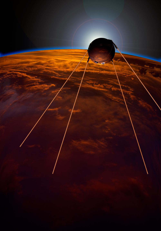 Первый спутник. Рисунок художника.