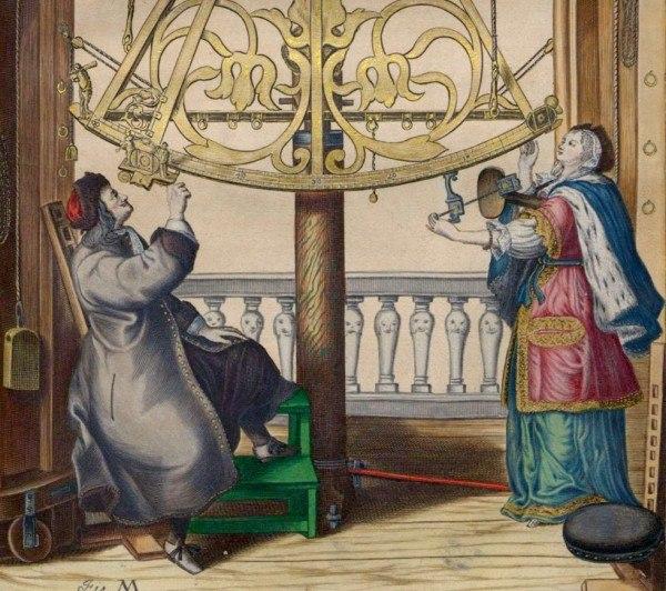 Ян Гевелий и его жена Эльжбета – первая женщина-астроном нового времени – наблюдают звездное небо