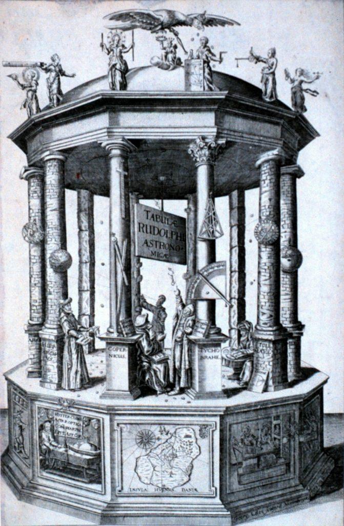 Обложка Рудольфинских таблиц, на которой изображены Гиппарх, Птолемей, Коперник и Тихо Браге