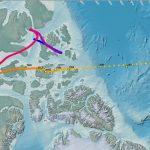 Карта перемещения северного геомагнитного полюса в 1590-2020 годах по данным NOAA (на основе прямых измерений, изучения остаточной намагниченности древних пород и моделирования)