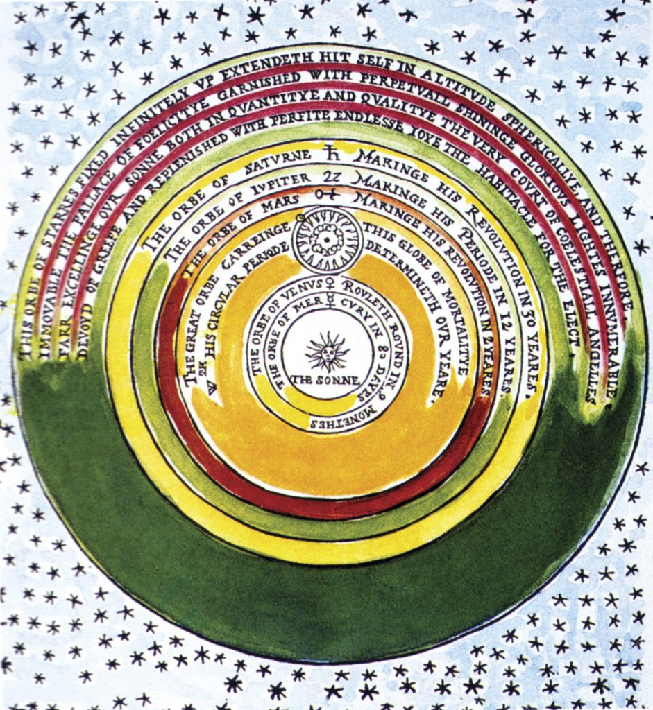 Строение Вселенной по Томасу Диггесу (из работы «Совершенное описание небесных сфер…»)